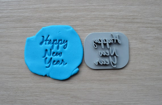 Happy New Year Imprint Font 2 Cookie/Fondant/Soap/Embosser Stamp
