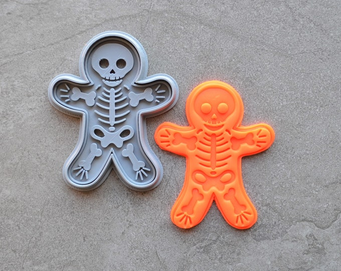 Skeleton Man/Lady Halloween Cookie Fondant Cutter & Stamp Fondant