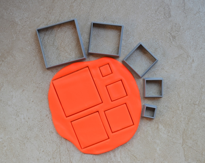 Square Polymer Clay Cutter Set Cookie Fondant Cutters