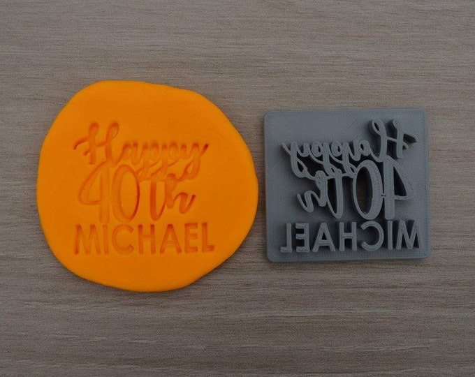 Happy 40th Birthday Custom/Personalized Name Imprint Cookie/Fondant/Soap/Embosser Stamp
