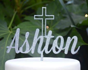 Name Cake Topper Cross Baptism Christening Confirmation Custom Personalized Cake Topper Font 1