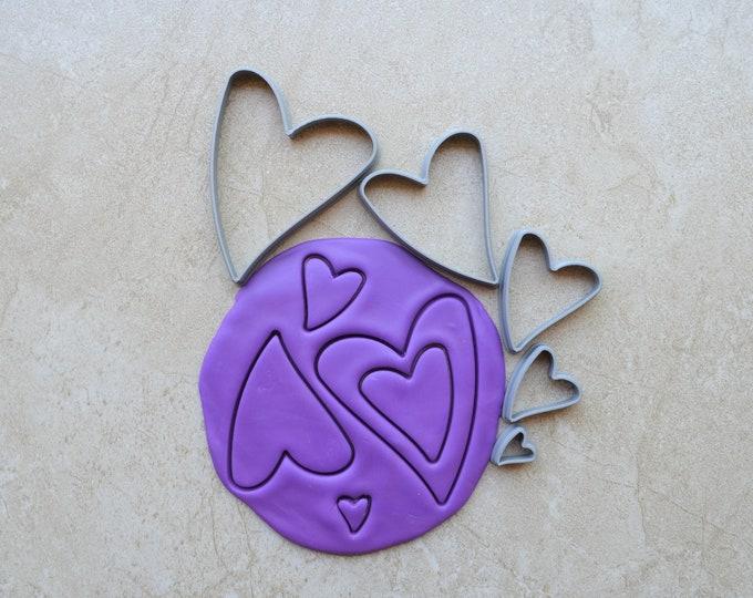 Uneven Heart Polymer Clay Cutter Set Cookie Fondant Cutters