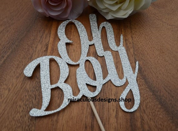 Oh Boy Cake Topper - Baby Shower Cake Topper - Baby Boy Cake Topper - Assorted Colours