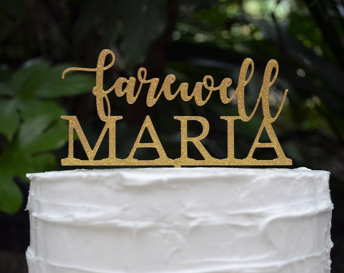 Farewell Name Cake Topper - Assorted Colours