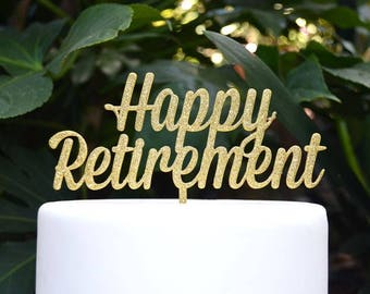 Happy Retirement Cake Topper - Assorted Colours