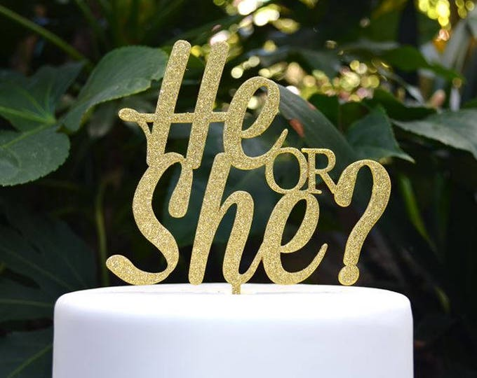 He or She Cake Topper - Baby Shower Gender Reveal Cake Topper - Assorted Colours