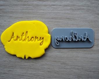 Custom Name Imprint Font 3 Cookie/Fondant/Soap/Embosser Stamp