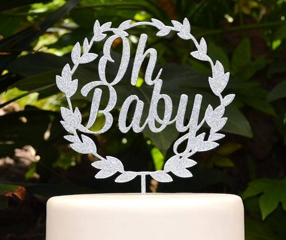 Wreath Oh Baby Cake Topper - Baby Shower Cake Topper - Baby Boy Baby Girl Cake Topper
