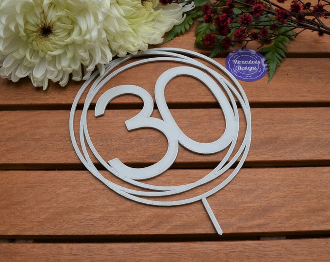 30 Ring Birthday Cake Topper - 30th Birthday Cake Topper - Assorted Colours