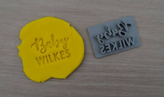 Baby Name Imprint Font 1 Custom Personalized Cookie/Fondant/Soap/Embosser Stamp