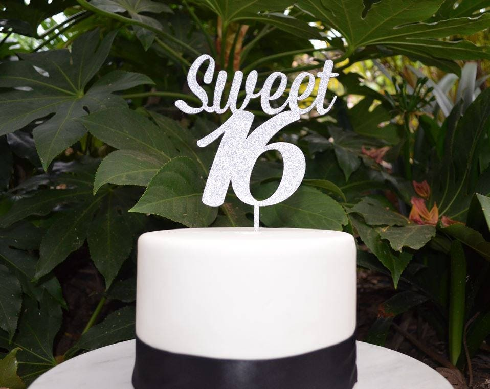 Sweet 16 Birthday Cake Topper Assorted Colours