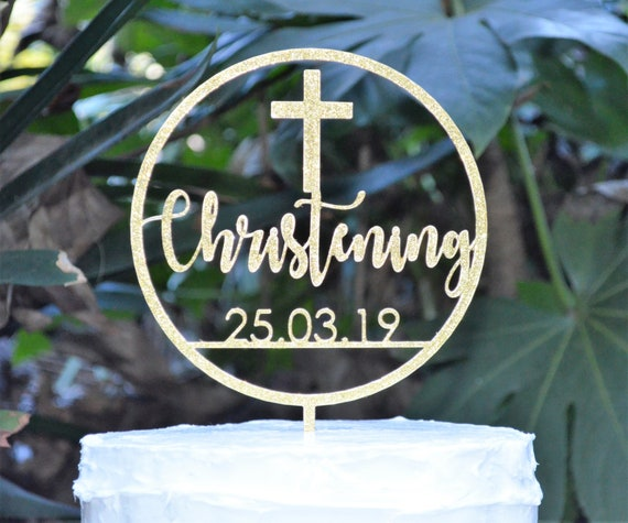 Circle Christening Date Cake Topper Cross Baptism Christening Confirmation Custom Personalized Cake Topper