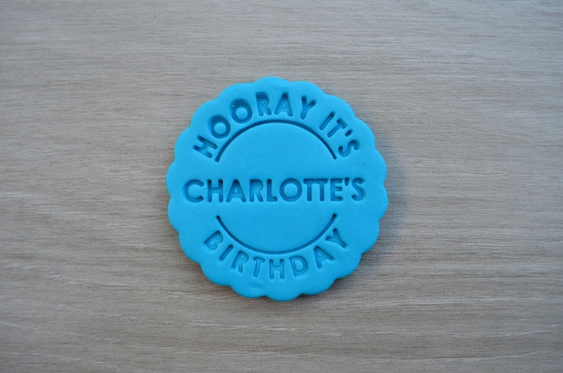 Hooray its Name Birthday Name Cookie Cutter Fondant Cutter Stamp Party Favor Cake Topper CustomPersonalised