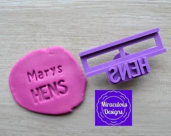 Name Hens DIY Stamp/Holder Imprint Wedding Engagement Cookie/Fondant/Soap/Embosser Stamp