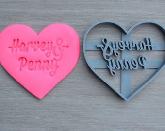 Heart Wedding Shower Bridal Anniversary Engagement Valentine Party Name Cookie Cutter Fondant Cutter Party Favor Custom/Personalised
