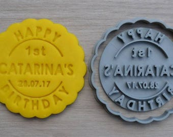 Happy Birthday Any Age & Date Cookie Cutter Fondant Cutter Stamp Party Favor Cake Topper Custom/Personalised