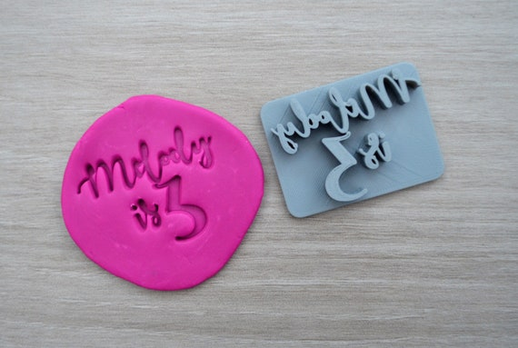 Age 3 Custom/Personalized Name Cookie/Fondant/Soap/Embosser Stamp