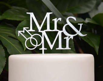 Mr & Mr Wedding Cake Topper - Groom and Groom Wedding Cake Topper