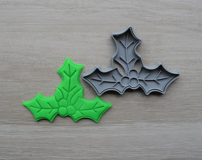Holly Leaf Christmas Cookie Fondant Cutter & Stamp Fondant