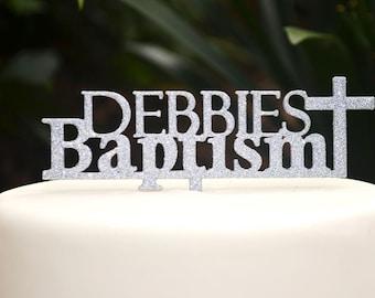 Cross Baptism Custom Personalized Cake Topper