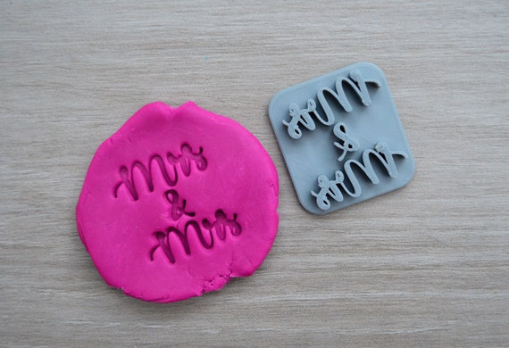 Mrs & Mrs Imprint Cookie/Fondant/Soap/Embosser Stamp
