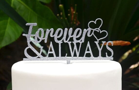 Forever & Always Wedding Engagement Heart Cake Topper - Bride and Groom Wedding Cake Topper
