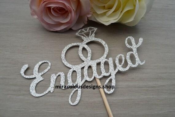 Engagement Cake Topper - Wedding Ring Cake Topper - Diamond Ring Cake Topper - Assorted Colours