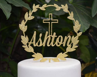 Wreath Name Cake Topper Cross Baptism Christening Confirmation Custom Personalized Cake Topper