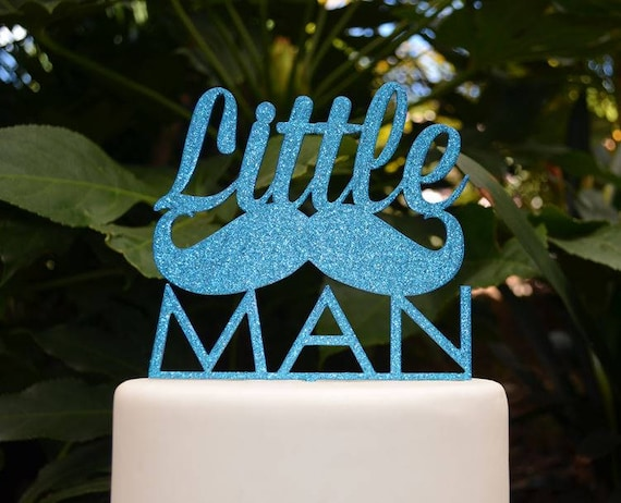 Little Man Cake Topper - Baby Shower Cake Topper - Baby Boy Cake Topper