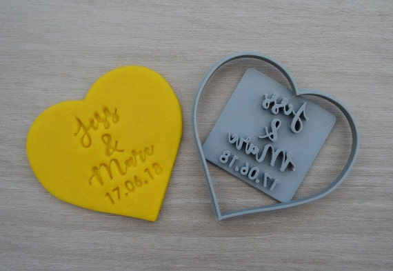 Heart Wedding Shower Bridal Anniversary Engagement Valentine Party Name Cookie/Fondant Cutter Set Custom Names & Date