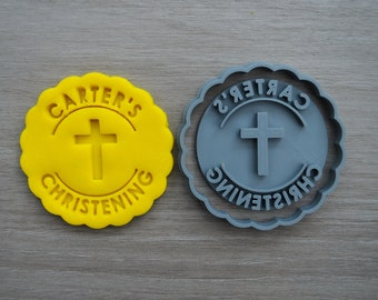 Christening Any Name and Cross Cookie Cutter Fondant Cutter Stamp Party Favor Cake Topper Custom/Personalised