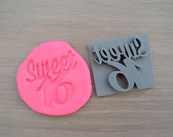 Sweet 16 Birthday Imprint Cookie/Fondant/Soap/Embosser Stamp