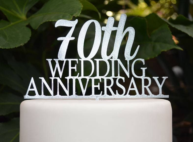 70th Wedding Anniversary.70th Wedding Anniversary Cake Topper Assorted Colours