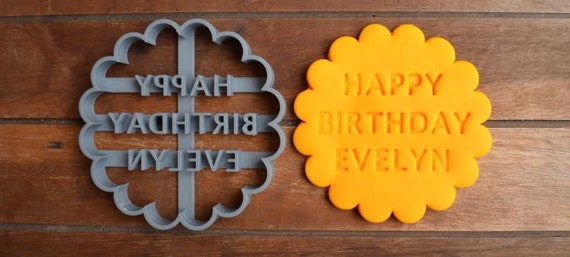 Happy Birthday Cookie Cutter Fondant Cutter Party Favor Cake Topper Custom/Personalised