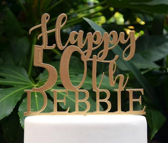 Happy 50th Birthday Custom/Personalized Name Cake Topper