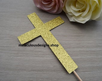 Cross Christening Baptism Confirmation Cake Topper - Assorted Colours