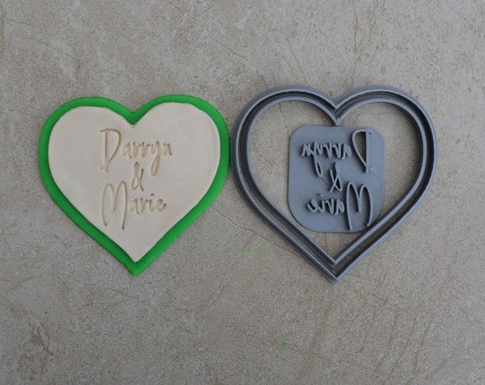 Heart Name & Name Wedding Shower Bridal Anniversary Engagement Valentine  Cookie/Fondant Cutter Set Custom Names