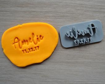 Custom Name Date Imprint Cookie/Fondant/Soap/Embosser Stamp