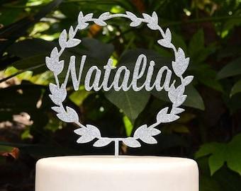 Wreath Custom Personalized Name Cake Topper - Birthday Cake Topper -  Baptism Christening Cake Topper