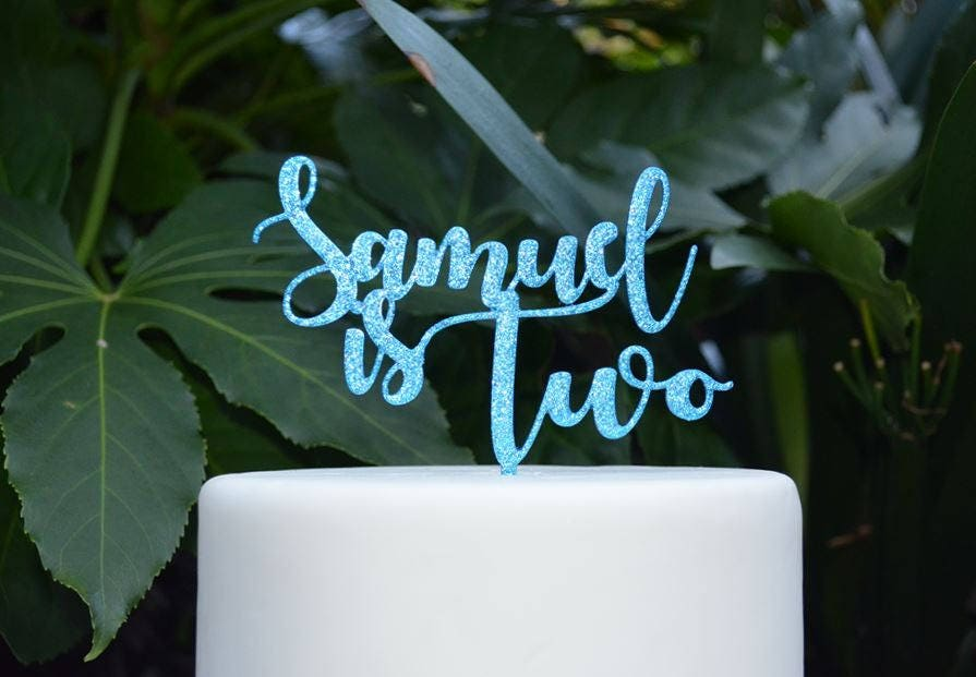 Age Two Custom Personalized Name Birthday Cake Topper