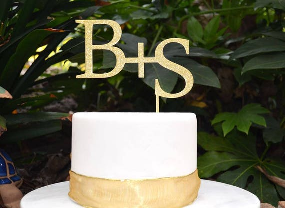 Initials Cake Topper - Wedding Custom Personalized Name Cake Topper