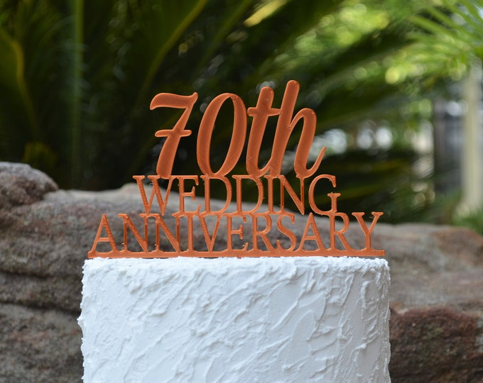 70th Wedding Anniversary Cake Topper - Assorted Colours