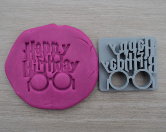 Happy Birthday Glasses with Scar Imprint Cookie/Fondant/Soap/Embosser Stamp
