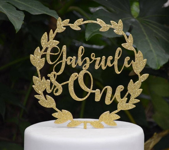 Wreath Age One Custom/Personalized Name Birthday Cake Topper - Assorted Colours