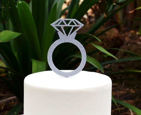 Engagement Ring Cake Topper - Wedding Ring Cake Topper - Diamond Ring Cake Topper
