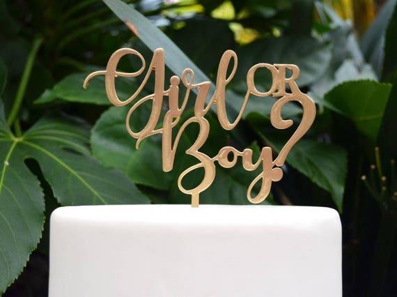 Girl or Boy Cake Topper - Baby Shower Gender Reveal Cake Topper - Assorted Colours
