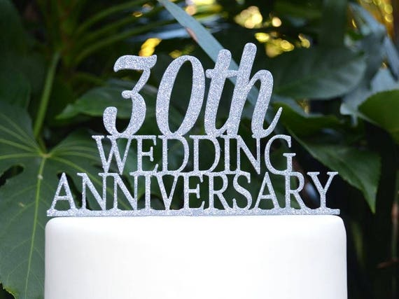 30th Wedding Anniversary Cake Topper - Assorted Colours