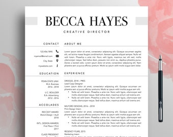 professional resume cv template 1 3 page modern resume template word creative resume template mac resume download simple resume becca