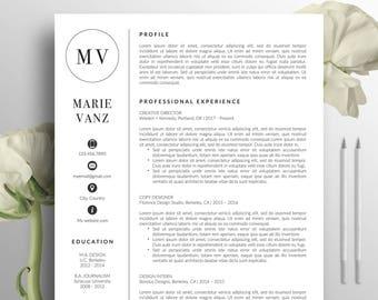 Creative Resume Template, CV Template, Cover letter, Word, Professional Resume, Modern Resume Design, Instant Digital Download, Marie