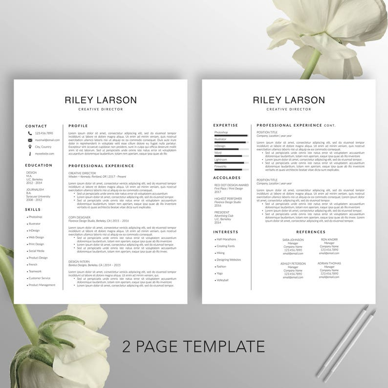 Simple Resume Word CV Template US Letter Instant Download Riley Creative Resume Template Cover Letter Professional Resume Modern A4